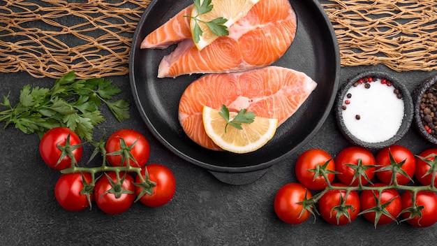 Arrangement of raw red salmon slices