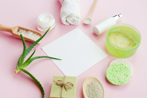 Arrangement of spa body creams and soap