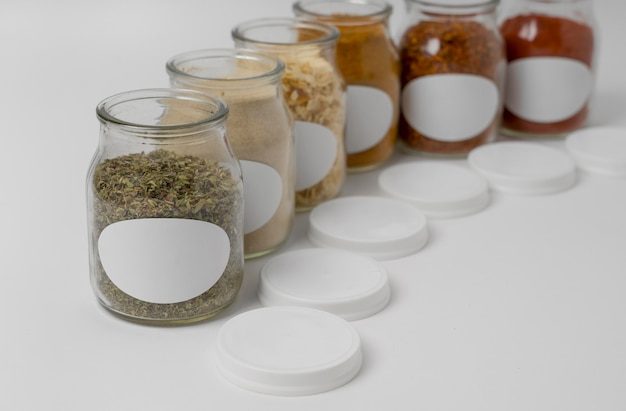 Arrangement of spices with labels