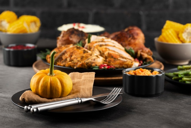 Arrangement of thanksgiving day delicious dinner