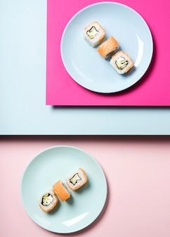 Arrangement of traditional japanese sushi plates