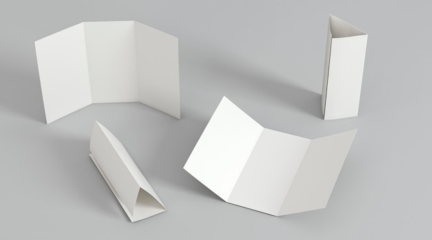 Arrangement of trifold brochure print template