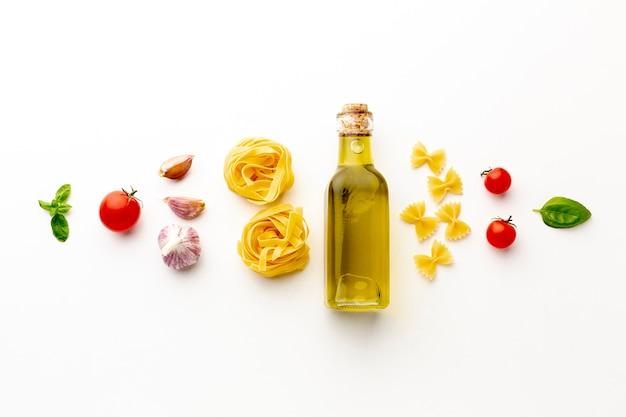 Arrangement of uncooked pasta and ingredients