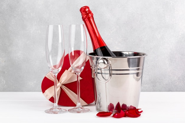 Arrangement for valentine's day dinner on table