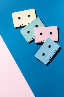 Arrangement of vintage cassette tapes