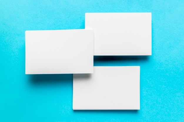 Arrangement of white envelopes with flat lay