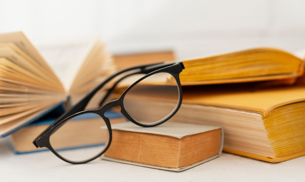 Arrangement with books and glasses