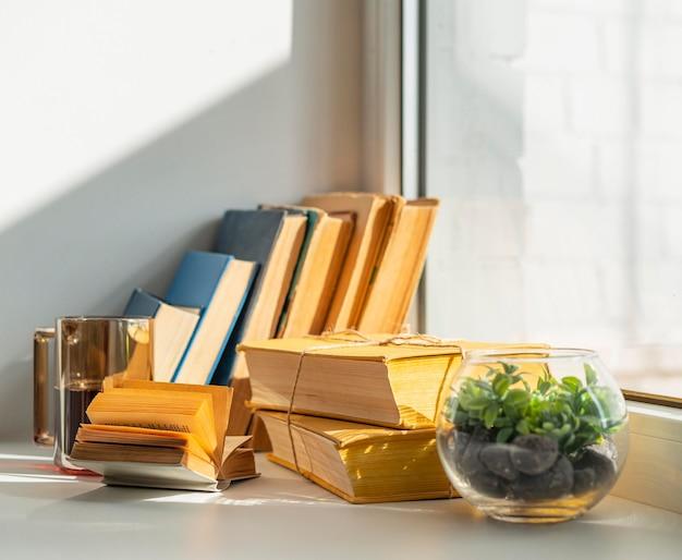 Disposizione con libri e pianta