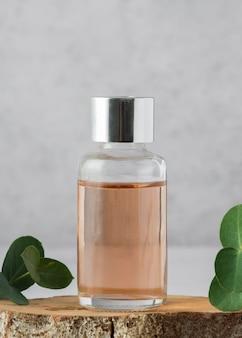 Disposizione con bottiglia e pianta