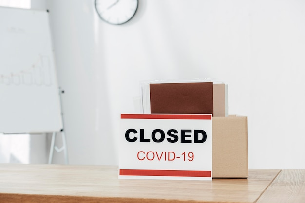 Arrangement with covid19 sign and box