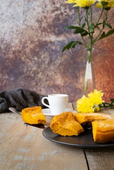 Arrangement with cup of tea and delicious pie