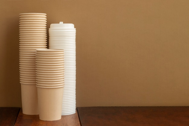 Arrangement with cups and copy space