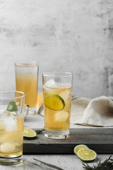 Arrangement with delicious drink with lime