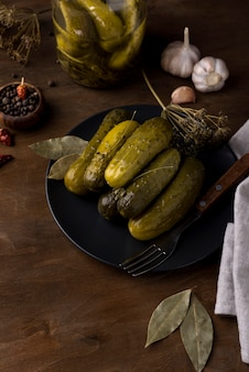 Arrangement with delicious pickles on plate