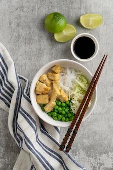 Arrangement with delicious vegan meal