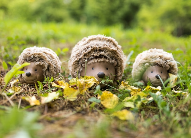 Arrangement with hedgehogs toys on grass