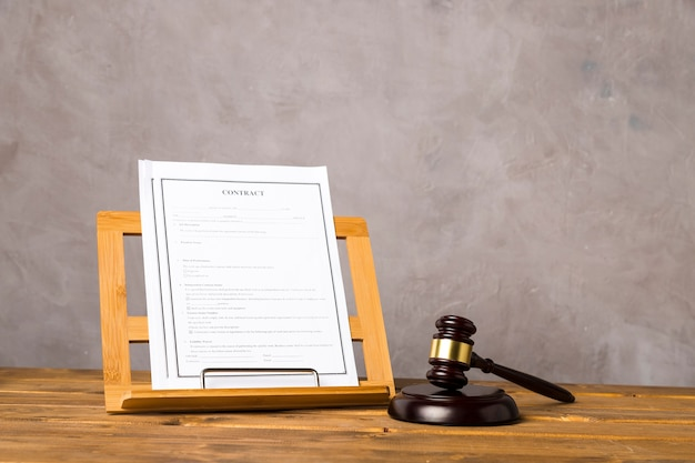 Arrangement with judge gavel and contract