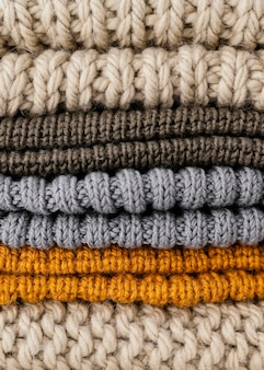Arrangement with knitted clothes close-up