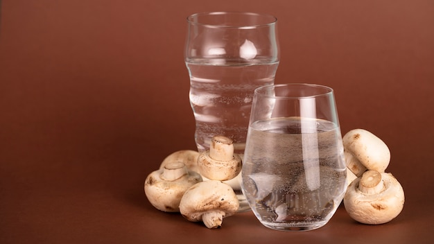 Arrangement with mushrooms, water and copy-space