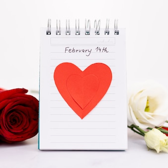Arrangement with notebook for valentine's day event