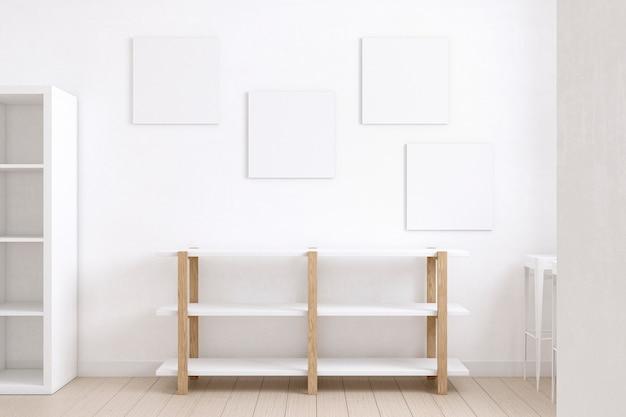棚と白い帆布の配置