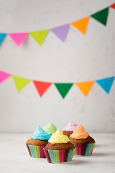 Arrangement with tasty muffins for party