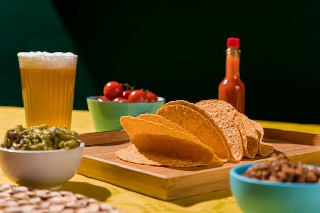 Arrangement with tortilla and beer