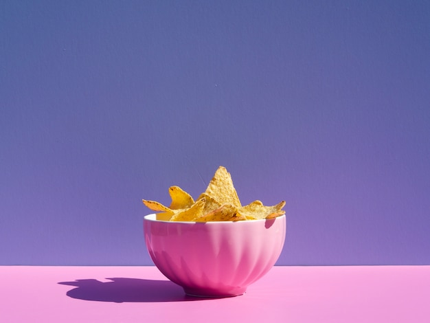 Arrangement with tortilla in a pink bowl