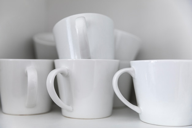 Arrangement with white mugs