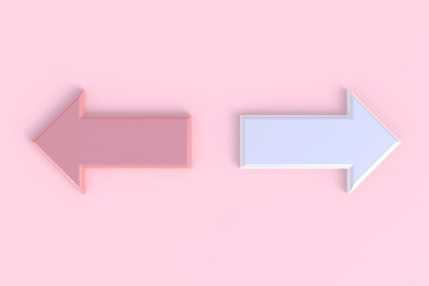 Стрелка абстрактный минимальный розовый фон, 3d рендеринг
