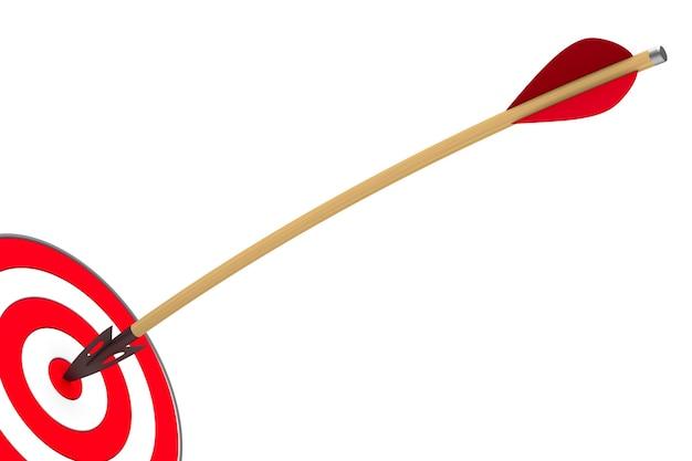 Стрелка и мишень на белом фоне. изолированная 3-я иллюстрация
