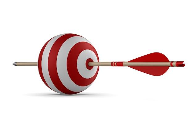Стрелка и цель на белом фоне. изолированная 3-я иллюстрация