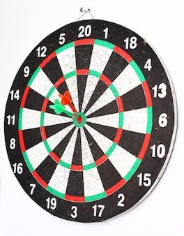 Arrow dart hitting the center of the target dart board.