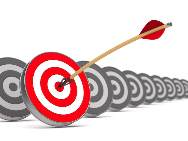 Arrow and dartboard on white background. isolated 3d illustration