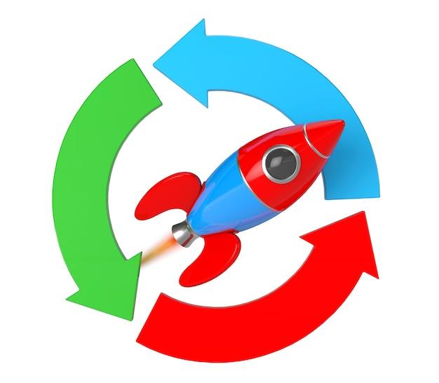 白い背景の上のロケットと矢印図。 3dレンダリング