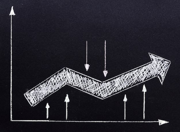 Arrow drawn with chalk