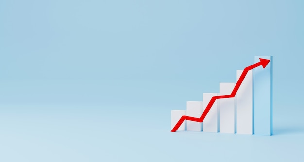 Arrow graph sign growth step staircase moving up on light blue background. business development to success and growing annual revenue growth concept. 3d illustration