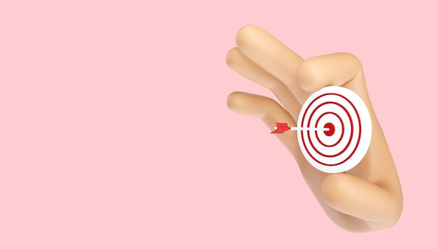 Arrow hit the center of target. business target achievement concept.3d illustration