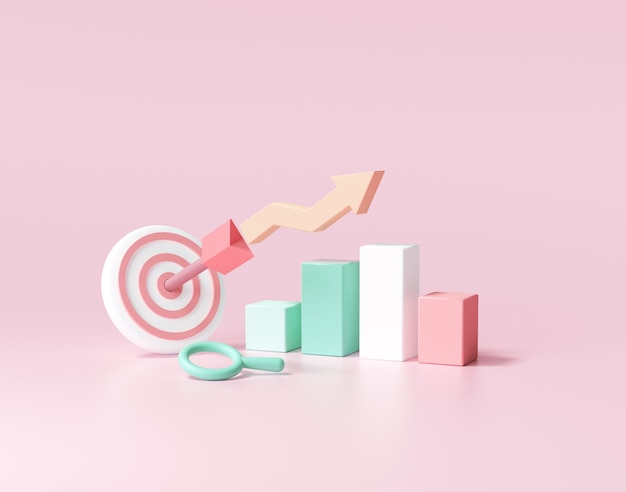 화살표는 목표와 주식 차트의 중심을 쳤다. 비즈니스 목표 달성 concept.3d 렌더링 그림