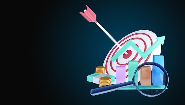 Стрела попала в центр цели. концепция достижения бизнес-цели. 3d иллюстрации