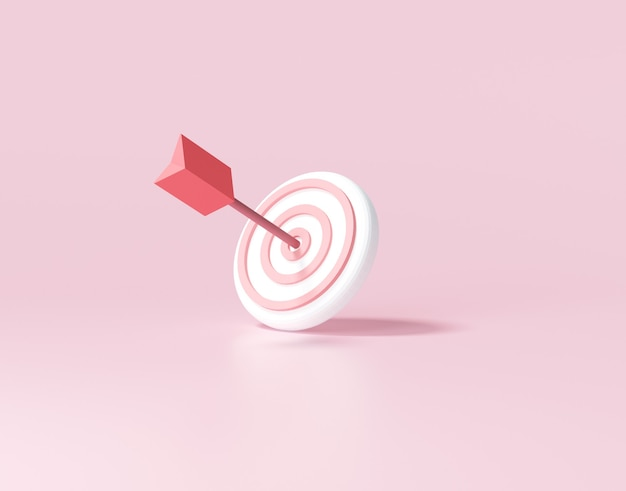 Стрела попала в центр цели. концепция достижения бизнес-цели. 3d визуализация иллюстрации