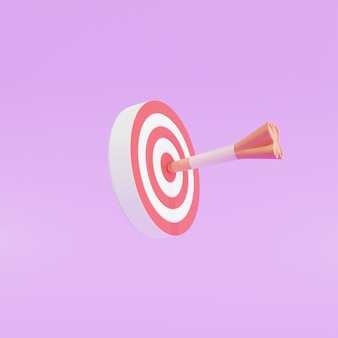 Стрела попала в центр мишени. концепция достижения цели бизнес-маркетинга, 3d иллюстрация