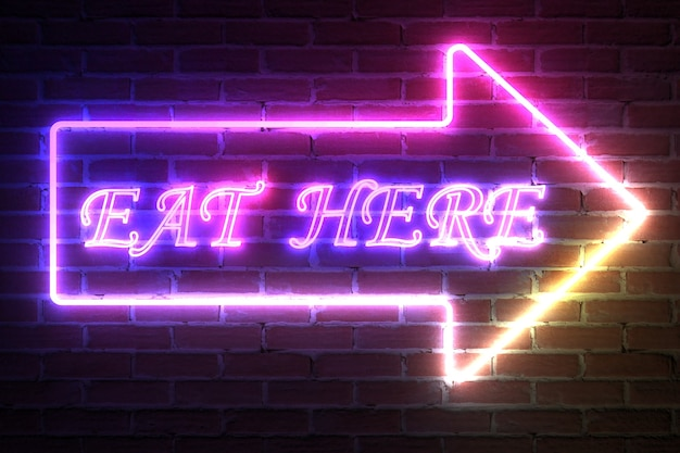 Arrow neon light frame with eat here sign in front of brick wall. 3d rendering