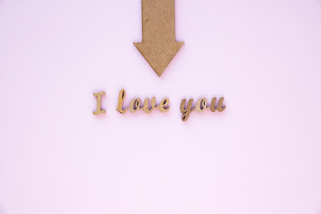 Arrow pointing at elegant i love you writing