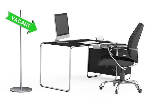 Пустой знак маршрута стрелки возле современного творческого рабочего пространства с компьютером на офисном столе и черном кожаном кресле на белом фоне. 3d-рендеринг.