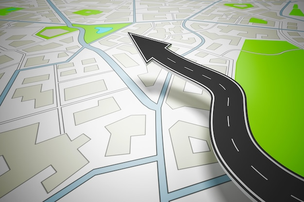 Arrow shaped road indicating the direction above a navigation map. 3d rendering