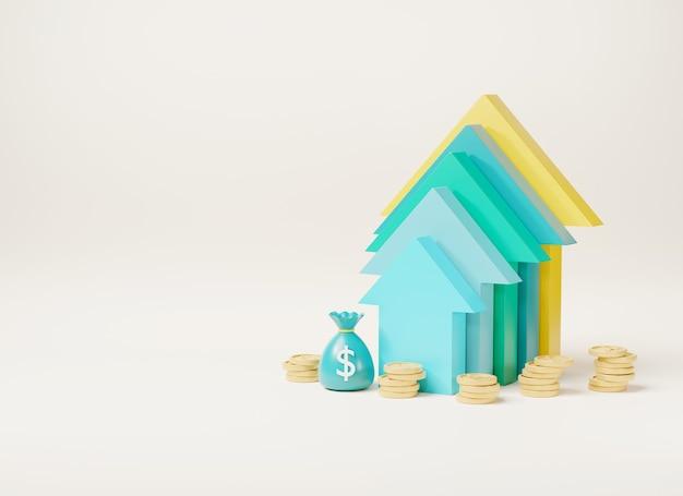 Arrow up bar graph increase and coin stacks money bag and dollar banknotes 3d render illustration