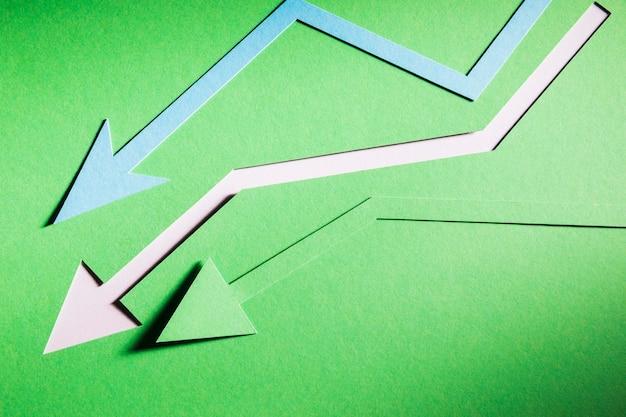 Frecce che inidivano la crisi economica