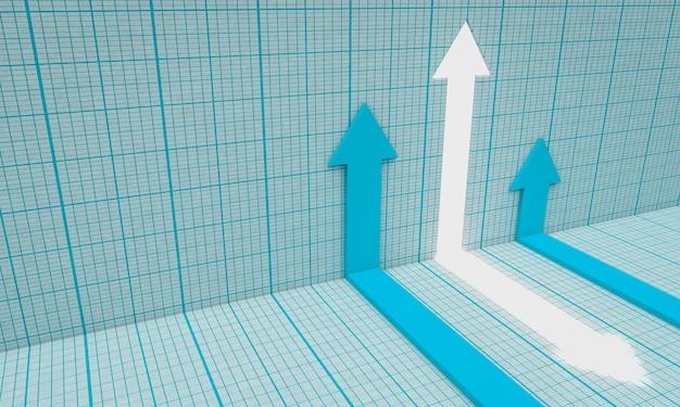 グラフ上の矢印。金融の概念。 3dレンダリング