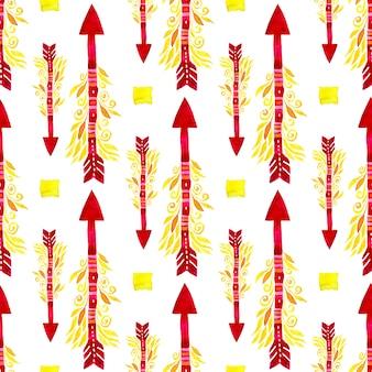 矢印のシームレスなパターン。水彩民族部族